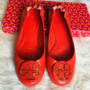 Tory Burch Reva Patent Ballet flats size 6.5 Red